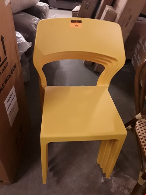 Lot 40 SET OF 4 YELLOW PLASTIC MODERNIST STYLE DINING CHAIRS