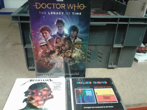 Lot 8218 A BOX OF ASSORTED MUSIC / MEDIA ITEMS TO INCLUDE A METALLICK CD, A DOCTOR WHO BOX SET AND A MILES DAVIS CD