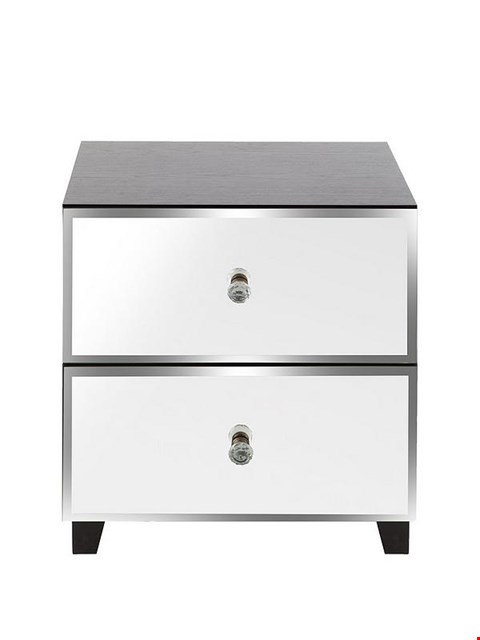 Lot 6084 BELLAGIO MIRRORED 2 DRAWER BEDSIDE CHEST  GREY/MIRRORS RRP £119.00