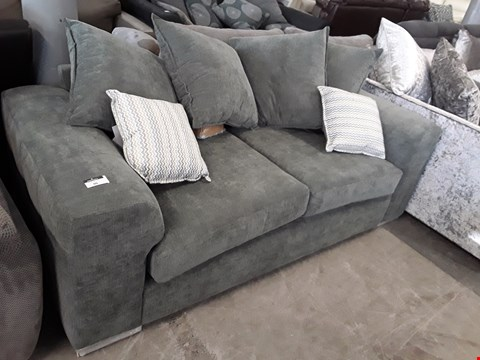 Lot 90 DESIGNER GREY FABRIC TWO SEATER SOFA WITH SCATTER CUSHIONS