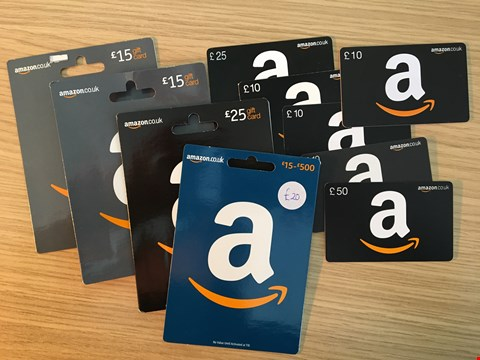 Lot 8 10 AMAZON GIFT VOUCHERS. TOTAL VALUE £190