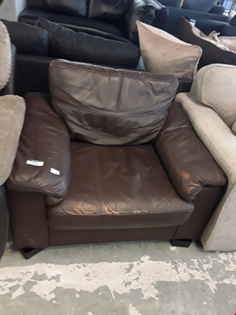 Lot 292 DESIGNER BROWN FAUX LEATHER ARMCHAIR  RRP £599.00