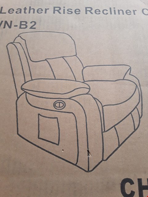 Lot 88 DESIGNER BOXED CHESTER BROWN LEATHER RISE AND RECLINE ARMCHAIR (2 BOXES) RRP £650.00