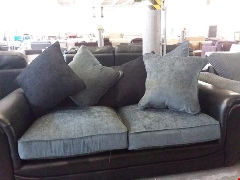 Lot 26 DESIGNER GREY FABRIC BLACK FAUX LEATHER 2 SEATER SOFA WITH SCATTER CUSHIONS