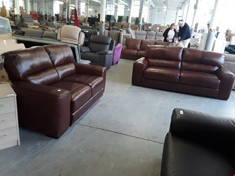 Lot 313 QUALITY ITALIAN DESIGNER BROWN LEATHER GATTUSO 3 SEATER AND 2 SEATER SOFAS