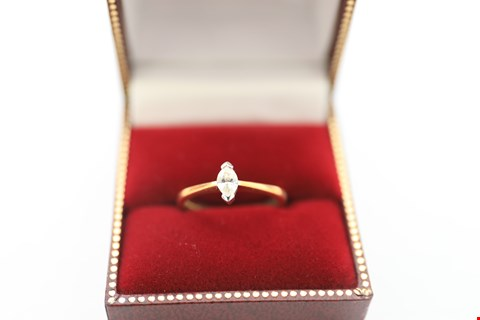 Lot 2 18CT GOLD RING SET WITH MARQUISE CUT DIAMOND WEIGHING +-0.24CT