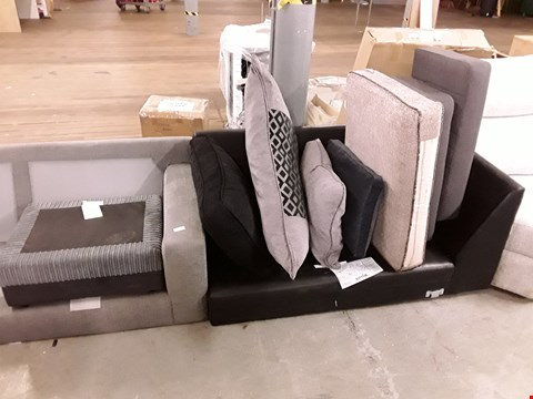 Lot 207 LOT OF UPHOLSTERY ITEMS TO INCLUDE 2 SOFA SECTIONS, FOOTSTOOL BASE AND VARIOUS CUSHIONS