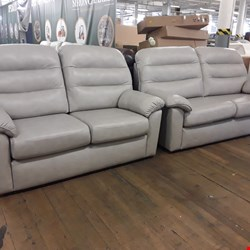 Lot 9001 QUALITY BRITISH MADE, HARDWOOD FRAMED GREY LEATHER 3 AND 2 SEATER SOFAS