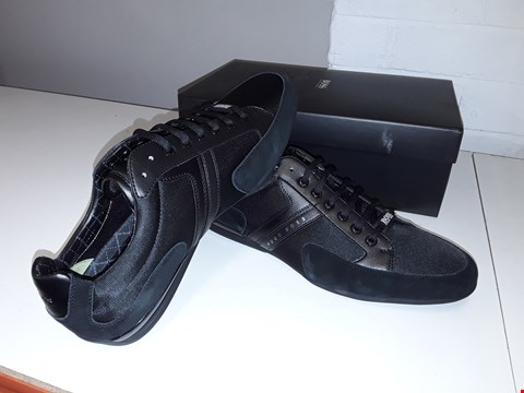 Lot 5013 BOXED HUGO BOSS SPACIT TRAINERS - SIZE 12 BLACK