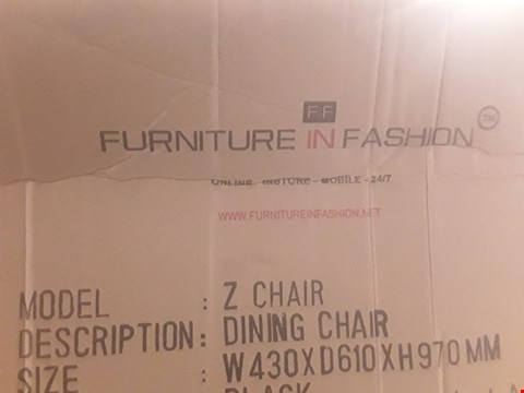 Lot 373 DESIGNER BOXED Z DINING CHAIRS