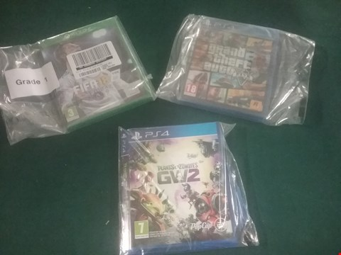 Lot 1092 LOT OF THREE ASSORTED VIDEO GAMES TO INCLUDE FIFA 18 FOR XBOX ONE, PLANTS VS ZOMBIES GW2 FOR PS4 AND GTA V FOR PS4