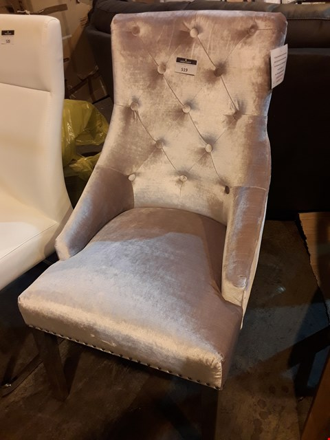 Lot 519 DESIGNER BUTTONED SILVER VELVET DINING CHAIR ON CHROME SUPPORTS