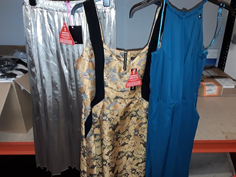 Lot 1 BOX OF APPROXIMATELY 22 ASSORTED CLOTHING ITEMS TO INCLUDE BACKLESS GREEN MAXI DRESS, JACQUARD PROM DRESS, LIGHT GOLD SKIRT