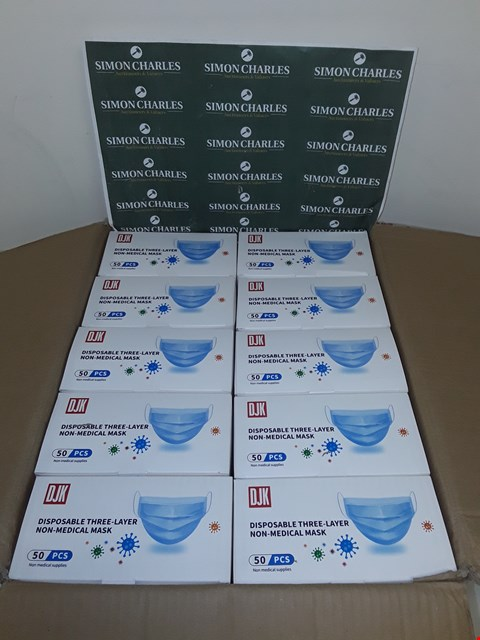Lot 8028 LOT OF 2500 DISPOSABLE THREE-LAYER NON-MEDICAL FACE MASKS (50 BOXES OF 50)