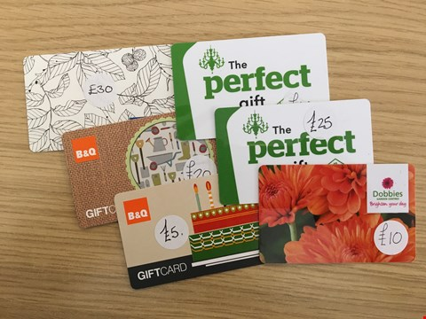 Lot 10 6 ASSORTED HOME IMPROVEMENT GIFT VOUCHERS, INCLUDING B&Q, DUNELM, DOBBIES AND IKEA.  TOTAL VALUE £130