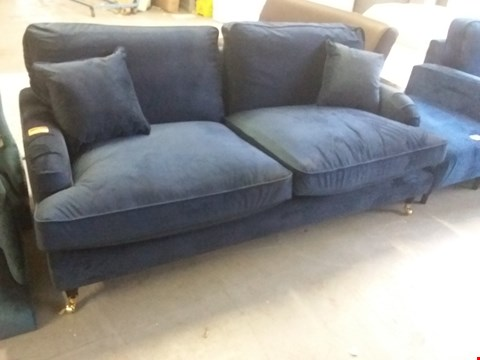 Lot 79 DESIGNER BLUE VELVET PERIOD STYLE THREE SEATER SOFA ON BRASS CASTORS