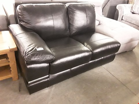 Lot 364 DESIGNER BLACK FAUX LEATHER SOFA SECTION WITH CHROME DETAILING