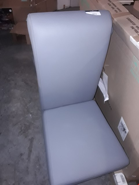 Lot 611 2 GREY FAUX LEATHER CHAIRS
