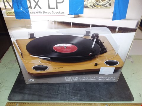 Lot 1730 ION - MAX LP WOOD CONVERSION TURNTABLE WITH STEREO SPEAKERS USB OUTPUT TO CONVERT VINYL RECORDS TO DIGITAL FILES