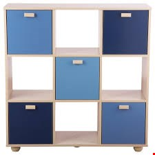 Lot 96 BOXED DESIGNER SYDNEY BLUE STORAGE CUBE SHELF RRP £149.99