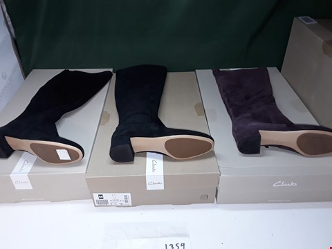 Lot 1359 LOT OF 4 ASSORTED PAIRS OF SUEDE CLARKS BOOTS