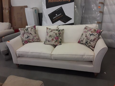 Lot 225 QUALITY BRITISH DESIGNER CREAM FABRIC 3 SEATER SOFA