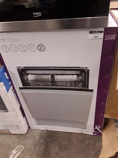 Lot 409 COOKE & LEWIS CLFDISH INTEGRATED FULL SIZE DISHWASHER