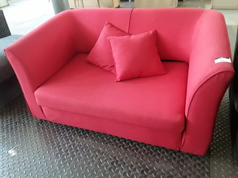 Lot 93 DESIGNER RED FABRIC TWO SEATER SOFA