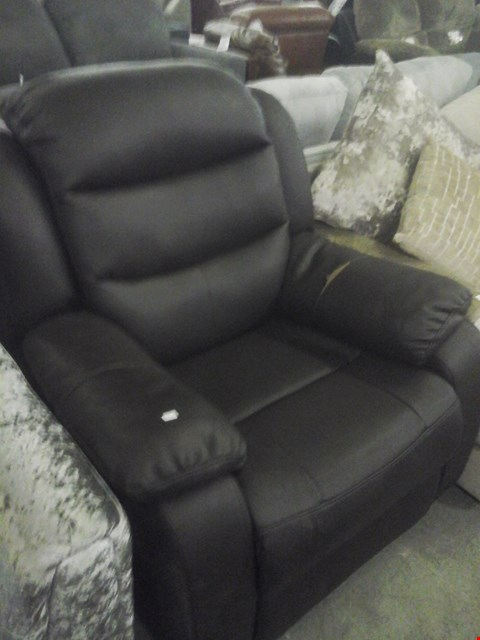 Lot 72 DESIGNER BLACK FAUX LEATHER RECLINER ARMCHAIR