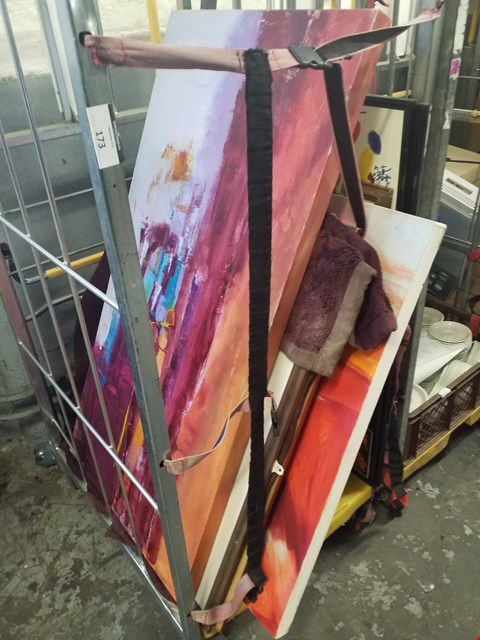 Lot 173 CAGE OF APPROXIMATELY 20 ASSORTED DECORATIVE CANVASES AND PRINTS