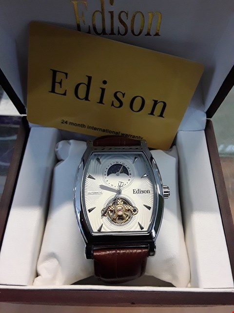 Lot 17 BRAND NEW DESIGNER EDISON LEATHER STRAP AUTOMATIC MOON PHASE DIAL WRISTWATCH  RRP £600.00