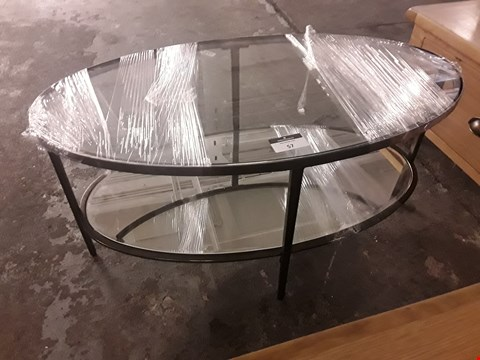 Lot 57 DESIGNER OVAL METSL FRAMED MIRRORED COFFEE TABLE