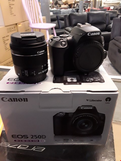 Lot 69 BOXED EOS 250D SLR CAMERA BLACK 18-55MM IS STM  RRP £750.00