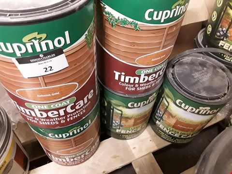 Lot 22 FIVE TUBS CUPRINOL AUTUMN RED  ( 3 × TIMBERCARE, 2 × FENCECARE) 5 LITRE RRP £62