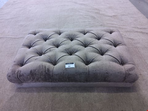 Lot 51 DESIGNER FABRIC FOOTSTOOL WITH BUTTON DETAILING