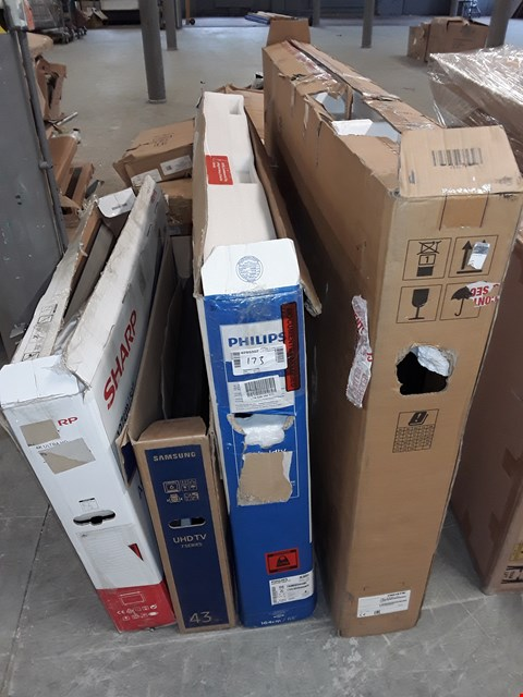 """Lot 173 LOT OF 4 ASSORTED TV'S IN VARIOUS SIZES TO INCLUDE PHILLIPS 65"""", SAMSUNG 43"""" AND CHRISTIE 75"""""""