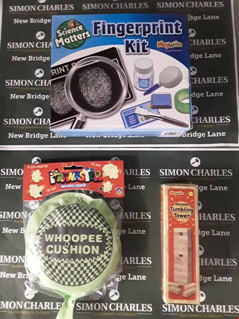 Lot 618 BOX OF ASSORTED TOY ITEMS TO INCLUDE A SCIENCE MATTERS FINGERPRINT KIT, A PRANKSTER WHOOPEE CUSHION, A WOODEN TUMBLING TOWER ETC