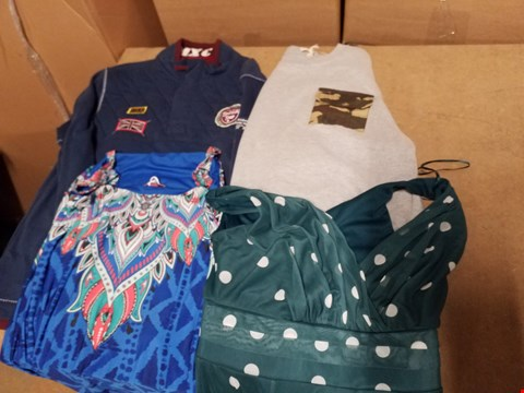Lot 9399 LOT OF APPROXIMATELY 88 ASSORTED CLOTHING ITEMS TO INCLUDE VARIOUS MEN'S JUMPER, SHORTS AND LADIES DRESSES (4 BOXES)