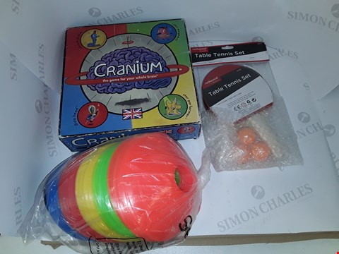 Lot 7199 LOT OF 4 ASSORTED TOYS ITEMS TO INCLUDE CRANIUM, SET OF TRAINING CONES,TABLE TENNIS SET ETC