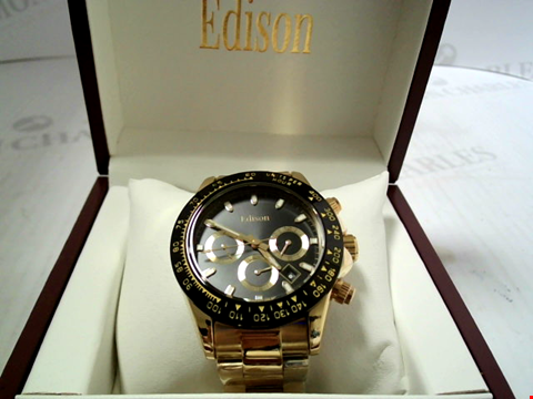 Lot 3298 DESIGNER EDISON AUTOMATIC GOLD TONE STAINLESS STRAP CHRONOGRAPH MOVEMENT WRISWATCH RRP £650.00
