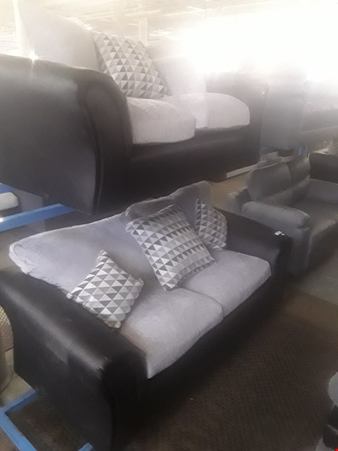 Lot 54 DESIGNER BLACK FAUX LEATHER & GREY FABRIC THREE & TWO SEATER SOFAS WITH SCATTER CUSHIONS