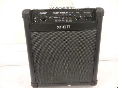 Lot 3185 ION AUDIO PARTY ROCKER MAX - 100 W PORTABLE WIRELESS BLUETOOTH SPEAKER & KARAOKE CENTRE WITH RECHARGEABLE BATTERY, PARTY LIGHT DISPLAY AND MICROPHONE
