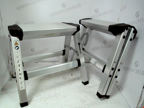 Lot 10021 SET OF 2 ASSORTED FOLDING 2 STEP STOOLS