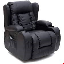 Lot 136 BOXED DESIGNER CAESAR BLACK LEATHER MANUAL RECLINING EASY CHAIR RRP £399.99