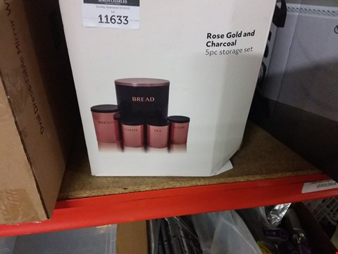 Lot 11633 ROSE GOLD AND 5PC CHARCOAL KITCHEN STORAGE SET