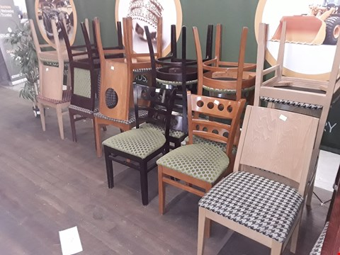 Lot 82 APPROXIMATELY 15 ASSORTED PATTERNED FABRIC WOODEN CHAIRS