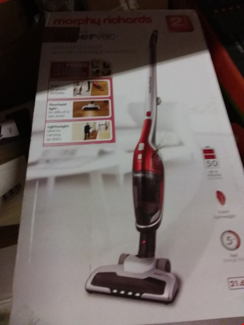 Lot 5449 MORPHY RICHARDS SUPERVAC 2-IN-1 CORDLESS VACUUM CLEANER 21.6V 732102 RED VACUUM CLEANER CORDLESS