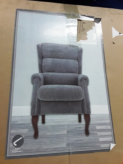 Lot 12097 BOXED GREY FABRIC EASY CHAIR