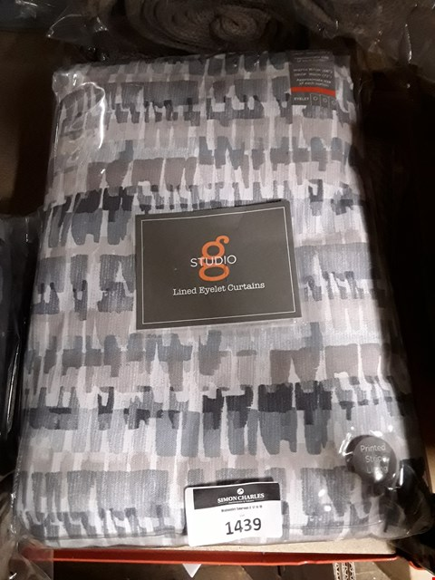 "Lot 1439 BRAND NEW STUDIO G TENBY LINED EYELET CURTAINS 66 X 72"" COLOUR - INDIGO RRP £90"