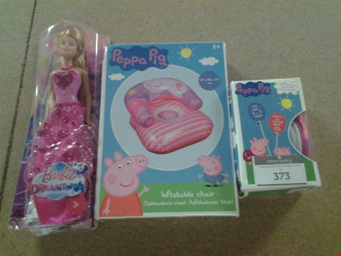 Lot 373 3 ASSORTED PRODUCTS TO INCLUDE; BARBIE DREAMTOPIA, PEPPA PIG INFLATABLE CHAIR AND PEPPA PIG HEADPHONES